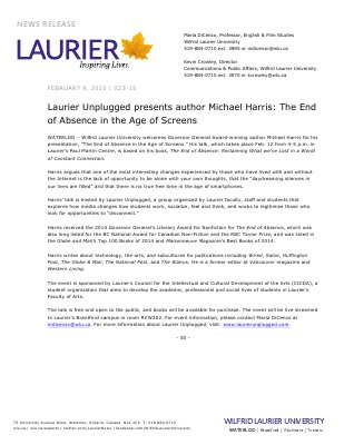 023-2015 : Laurier Unplugged presents author Michael Harris: The End of Absence in the Age of Screens