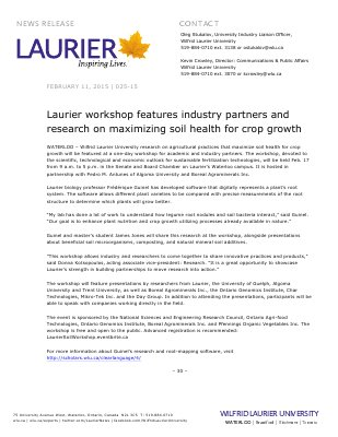 025-2015 : Laurier workshop features industry partners and research on maximizing soil health for crop growth