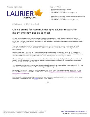 026-2015 : Online anime fan communities give Laurier researcher insight into how people connect