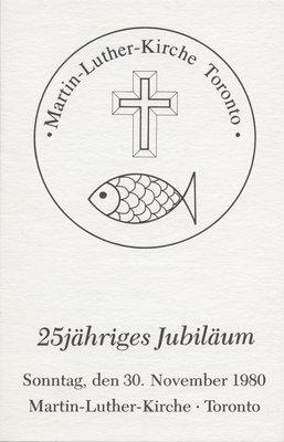 Martin Luther Kirche Toronto : 25jähriges jubiläum