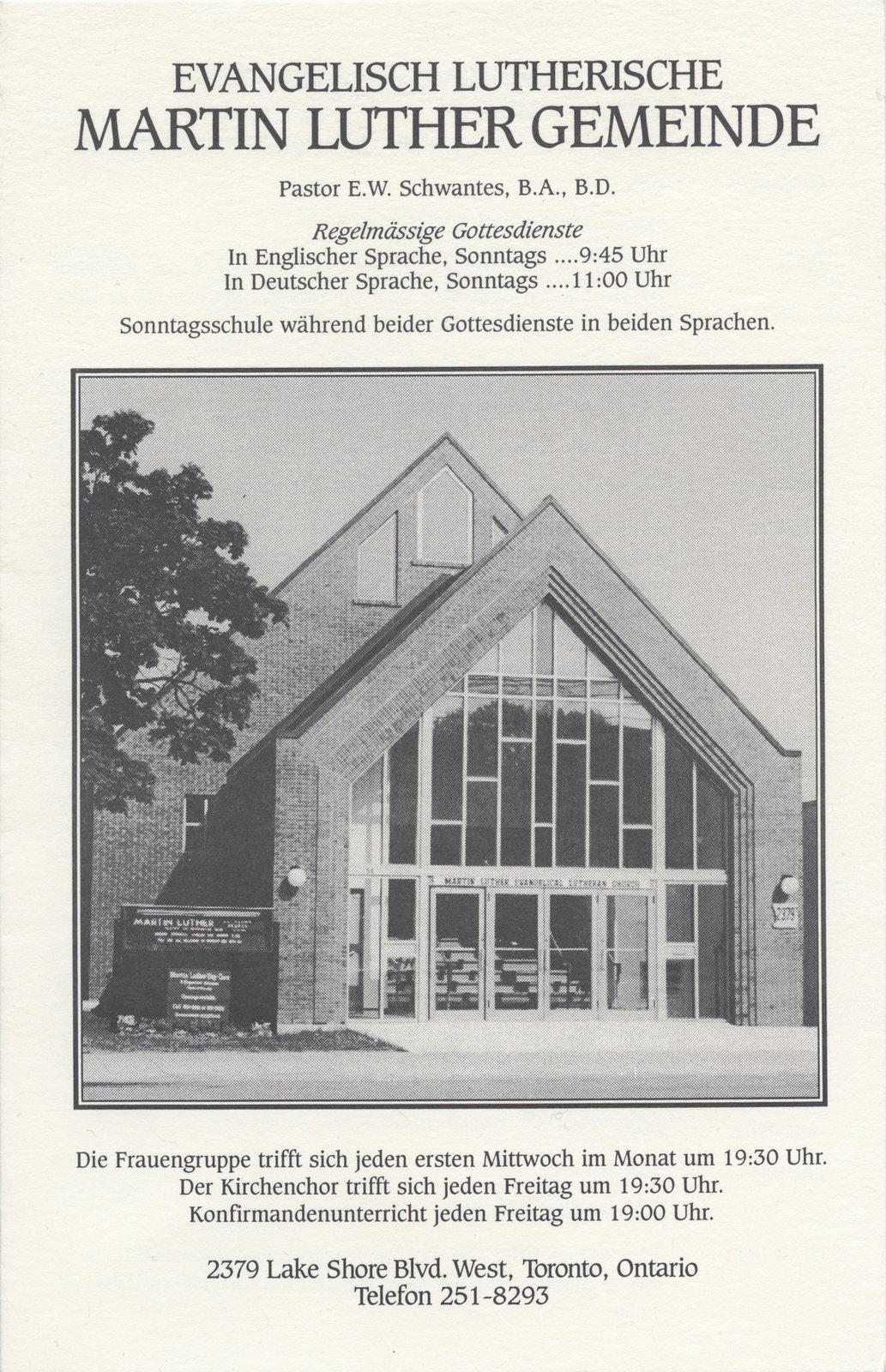 Evangelisch Lutherische Martin Luther Gemeinde : regelmässige gottesdienste