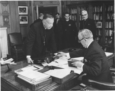 Prime Minister Lester B. Pearson, Franklin Clark Fry, Arthur Conrad, and Albert Lotz