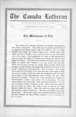 The Canada Lutheran, vol. 5, no. 3, January 1917