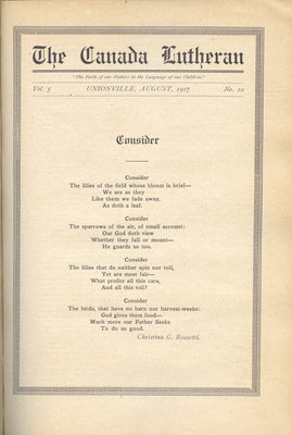 The Canada Lutheran, vol. 5, no. 10, August 1917