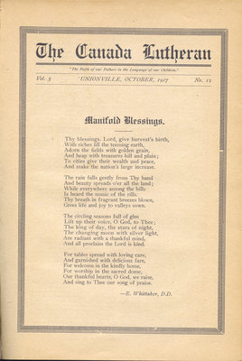 The Canada Lutheran, vol. 5, no. 12, October 1917