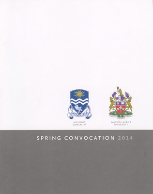Wilfrid Laurier University-Nipissing spring convocation program, 2014