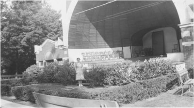 Woman standing in front of Waterloo Park bandshell