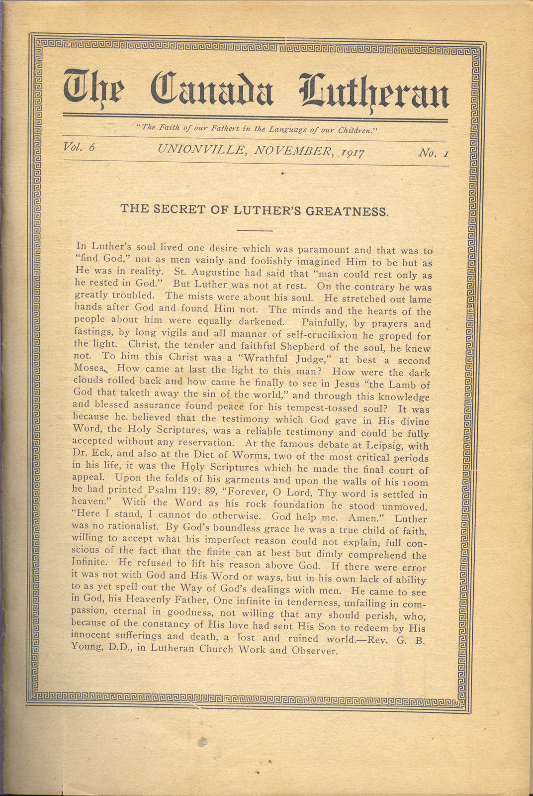 The Canada Lutheran, vol. 6, no. 1, November 1917