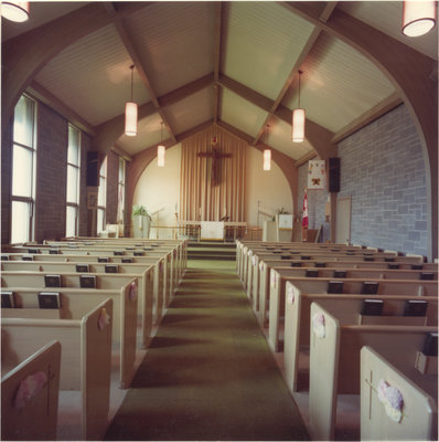 Interior view of St. Timothy's Evangelical Lutheran Church in Pembroke, Ontario