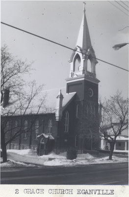 Exterior view of Grace Evangelical Lutheran Church in Eganville, Ontario