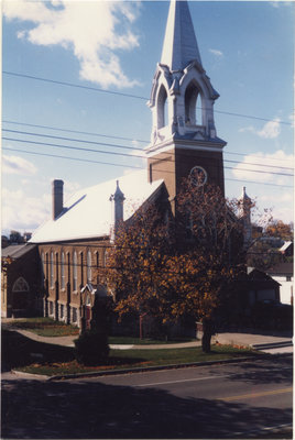 Exterior view of Grace Evangelical Lutheran Church in Eganville, Ontario.