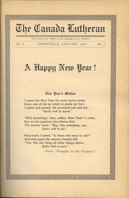 The Canada Lutheran, vol. 6, no. 3, January 1918