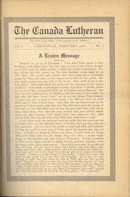 The Canada Lutheran, vol. 6, no. 4, February 1918