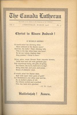 The Canada Lutheran, vol. 6, no. 5, March 1918
