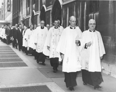Funeral procession for Dr. Franklin Clark Fry outside the St. Thomas Episcopal Church, New York City