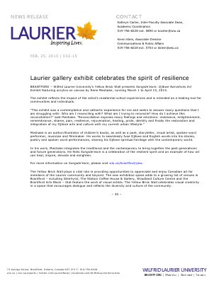 032-2015 : Laurier gallery exhibit celebrates the spirit of resilience