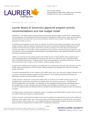 034-2015 : Laurier Board of Governors approves program priority recommendations and new budget model