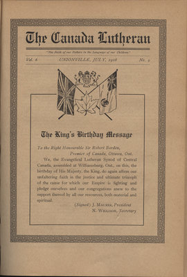 The Canada Lutheran, vol. 6, no. 9, July 1918