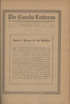 The Canada Lutheran, vol. 6, no. 10, August 1918