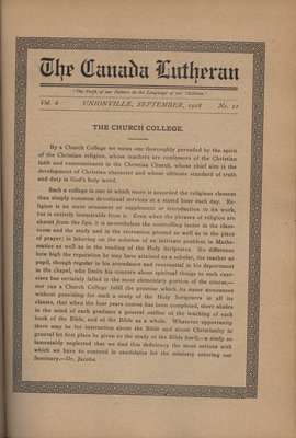 The Canada Lutheran, vol. 6, no. 11, September 1918