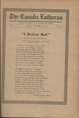 The Canada Lutheran, vol. 6, no. 12, October 1918