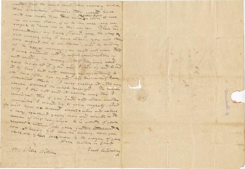 Letter from Jacob Senderling to Peter Witteker, September 18, 1826