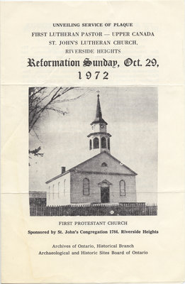 Unveiling service of plaque - First Lutheran Pastor, Upper Canada, St. John's Lutheran Church, Reformation Sunday, October 29, 1972