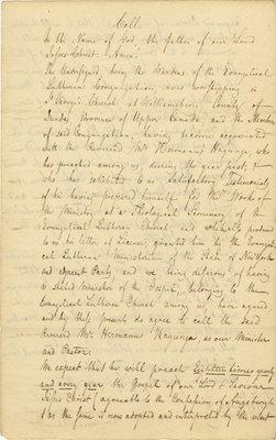 Call from the Evangelical Lutheran Church in Williamsburg to Hermanus Hayunga, September 1, 1827
