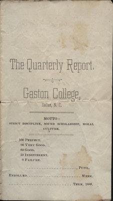 C. H. Little report card, Gaston College, 1888