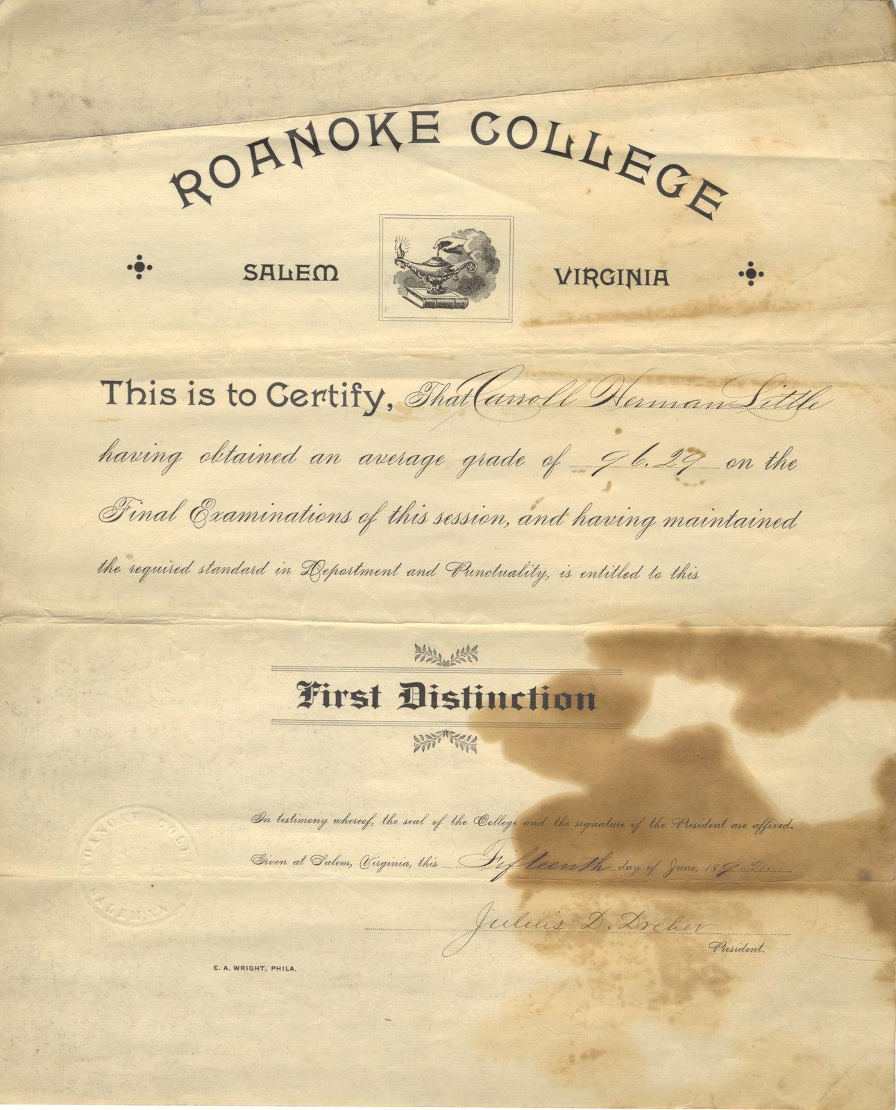 Roanoke College first distinction certificate