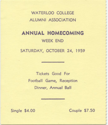 1959 Waterloo College Homecoming weekend ticket