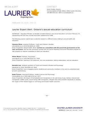 033-2015 : Laurier Expert Alert: Ontario's sexual-education curriculum
