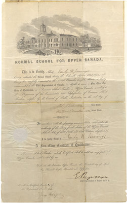 First Class Certificate of Qualification as a Common School Teacher, Upper Canada, 1854