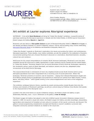 035-2015 : Art exhibit at Laurier explores Aboriginal experience