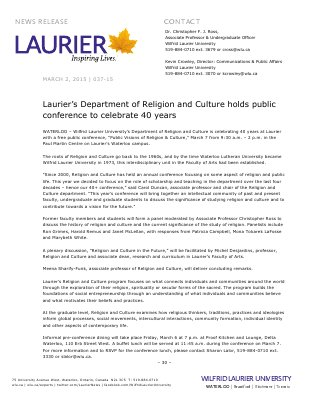 037-2015 : Laurier's Department of Religion and Culture holds public conference to celebrate 40 years