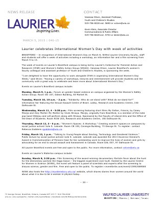 040-2015 : Laurier celebrates International Women's Day with week of activities