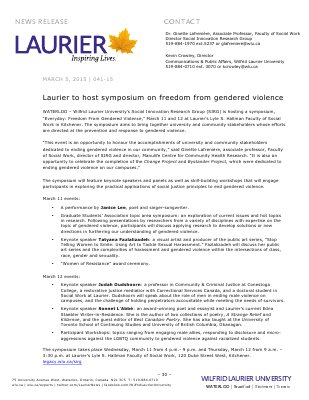 041-2015 : Laurier to host symposium on freedom from gendered violence