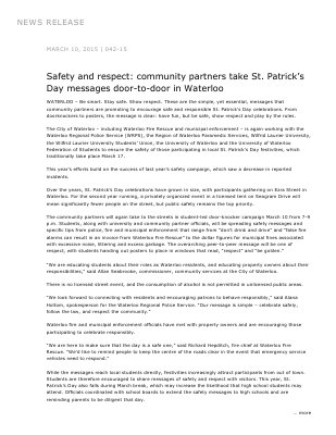 042-2015 : Safety and respect: community partners take St. Patrick's Day messages door-to-door in Waterloo