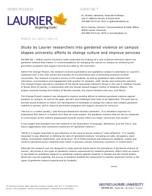 044-2015 : Study by Laurier researchers into gendered violence on campus shapes university efforts to change culture and improve services
