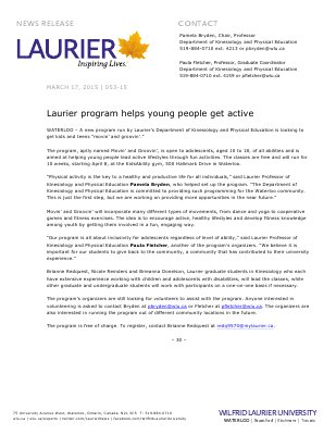053-2015 : Laurier program helps young people get active
