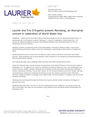 054-2015 : Laurier and Trio D'Argento present Manidoog, an Aboriginal concert in celebration of World Water Day