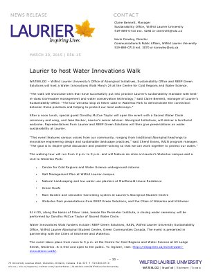 056-2015 : Laurier to host Water Innovations Walk