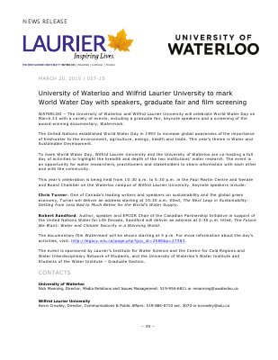 057-2015 : University of Waterloo and Wilfrid Laurier University to mark World Water Day with speakers, graduate fair and film screening