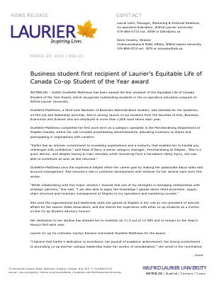 058-2015 : Business student first recipient of Laurier's Equitable Life of Canada Co-op Student of the Year award