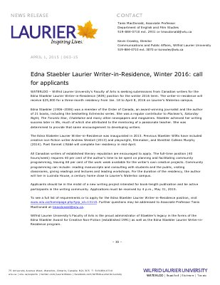 063-2015 : Edna Staebler Laurier Writer-in-Residence, Winter 2016: call for applicants