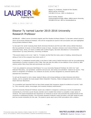 067-2015 : Eleanor Ty named Laurier 2015-2016 University  Research Professor