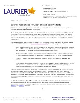 070-2015 : Laurier recognized for 2014 sustainability efforts