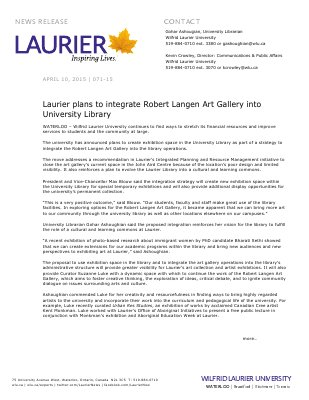 071-2015 : Laurier plans to integrate Robert Langen Art Gallery into University Library