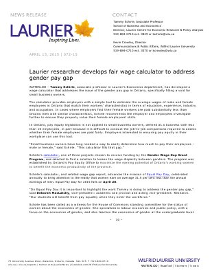 072-2015 : Laurier researcher develops fair wage calculator to address gender pay gap
