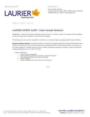 074-2015 : LAURIER EXPERT ALERT: India-Canada Relations